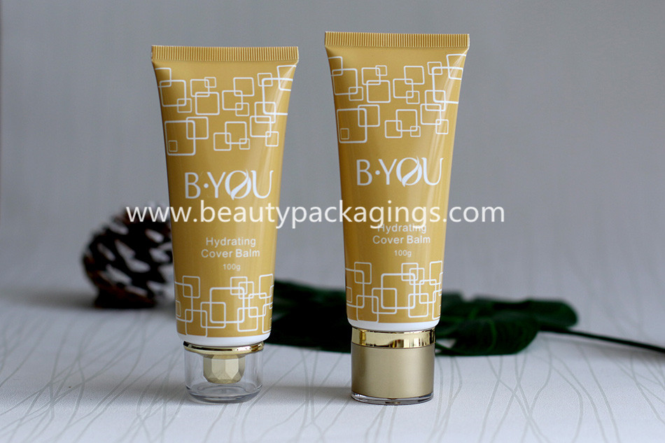 Fashion PE Hand Cream Lotion Cosmetic Tubes Packaging With Acrylic Caps