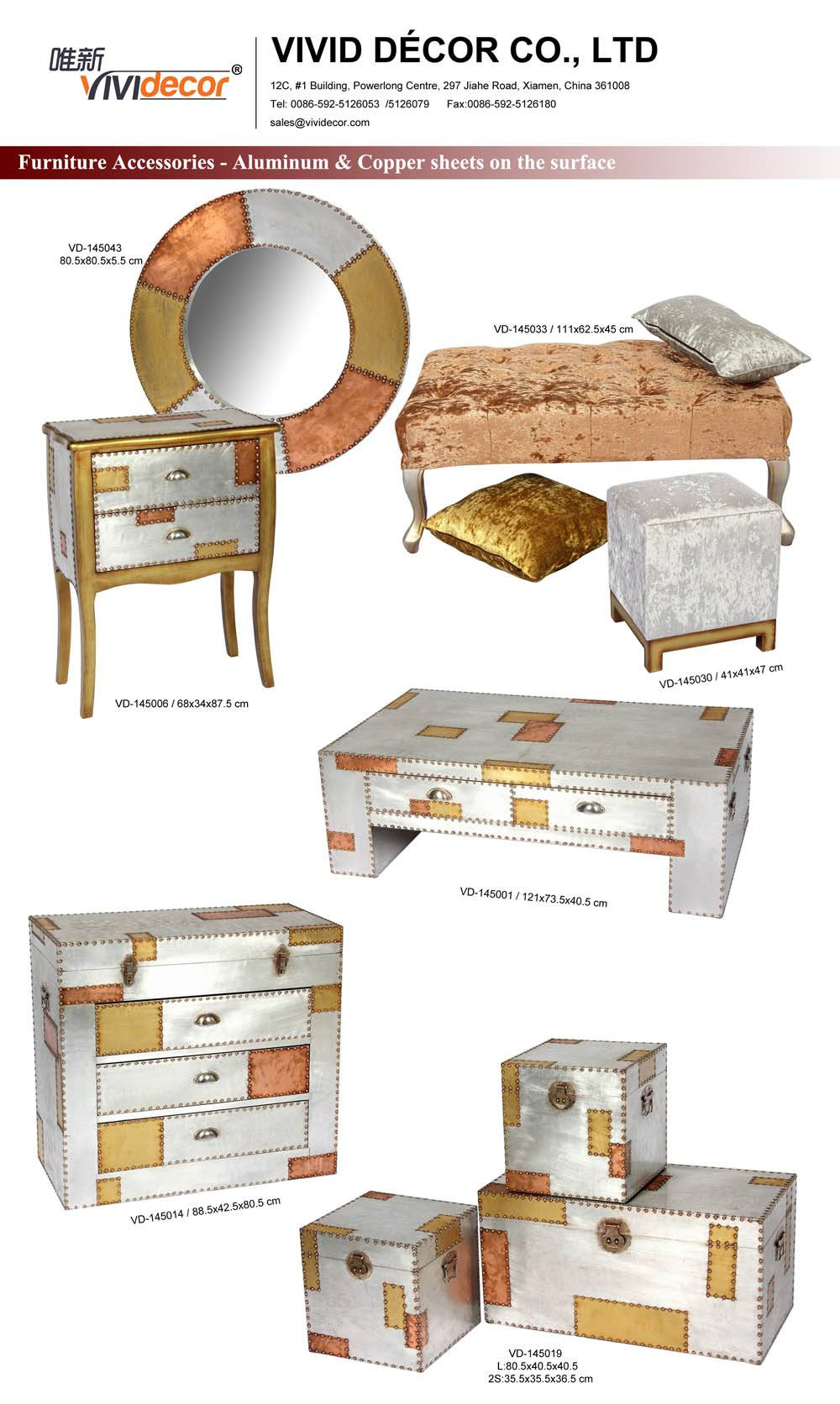 Aluminum  Home Decor/ Living Room Sets/  Trunk Mirror Chest Ottoman