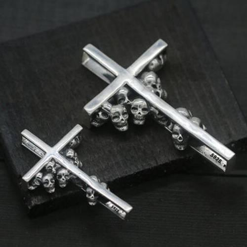 Mens Sterling Silver Skulls Cross Pendant