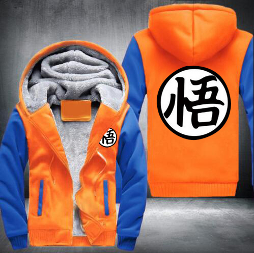 hot sale Hot New Anime Dragon ball Thick Hoodie Son Goku Sun Wukong Winter Tracksuit Fleece Mens Zip