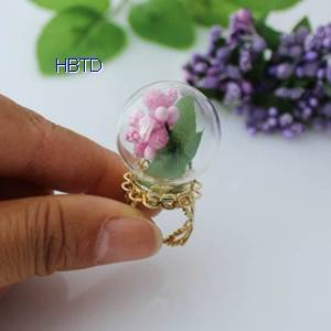 Hand Blown Globe Clear Hollow Jewelry Crystal Glass Ball Covers Rings Hemisphere