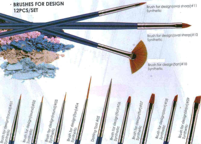 Eeesa Kolinky Synthetic Hair Nylon Nail Art Metal Handle Gel Art Nail Brush Beauty Painting Set