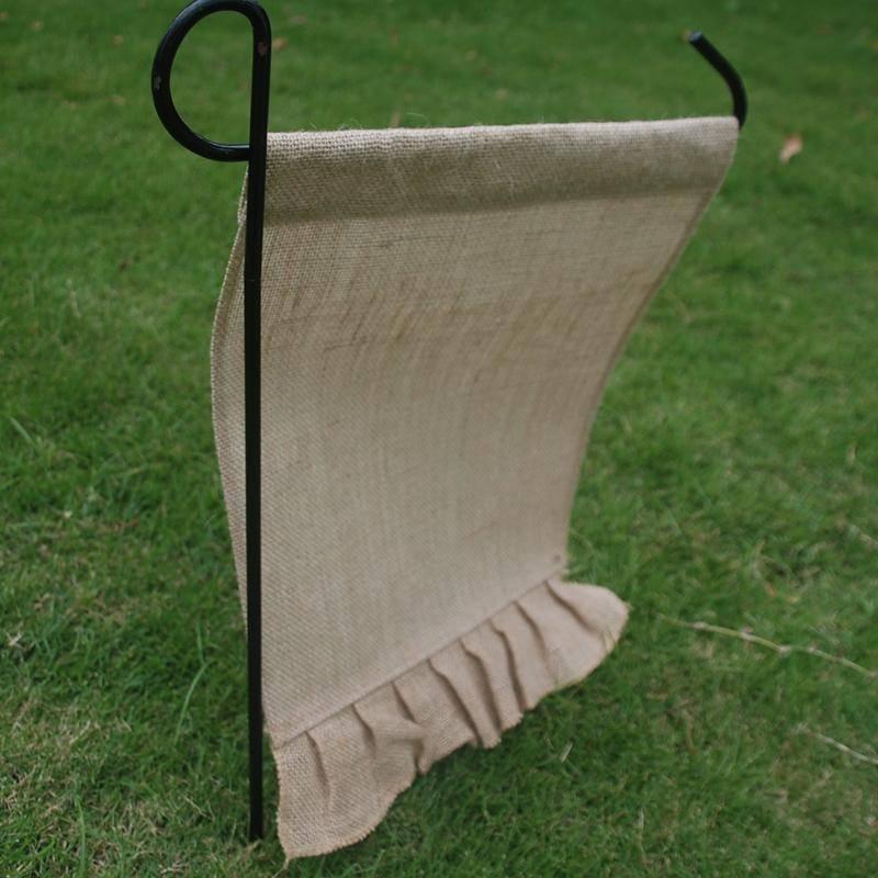 Blanks Ruffles Burlap Home Decro Jute Garden Flag