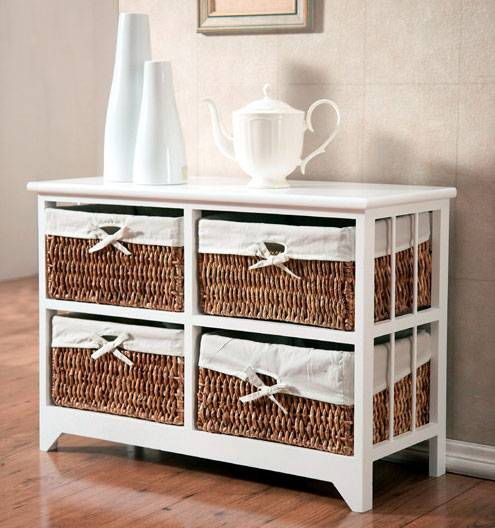 Wooden cabinet with handwoven storage basket