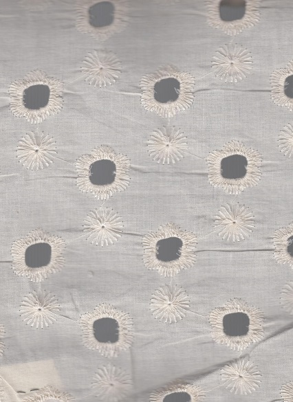 Cotton Cambric 100% Chicken Embroidered Bleach Fabrics.