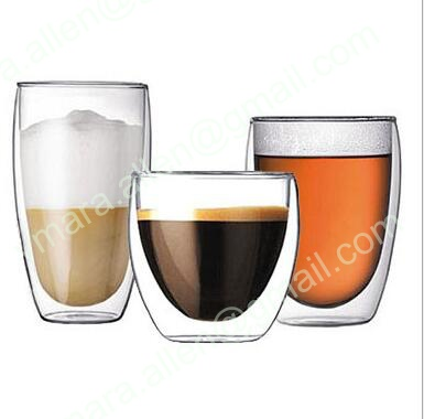 Double Wall Glass Cup Handmade Blown Clear Borosilicate Beer Cup