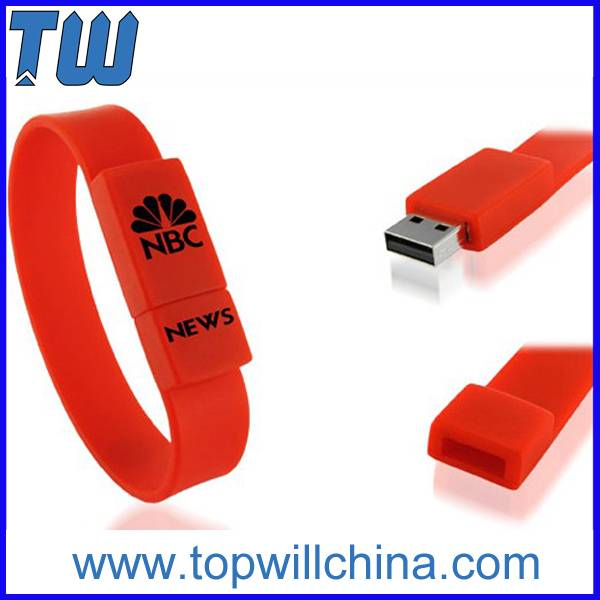Silicon Wristband Bracelet Pen Drives Flexibale Soft Touch