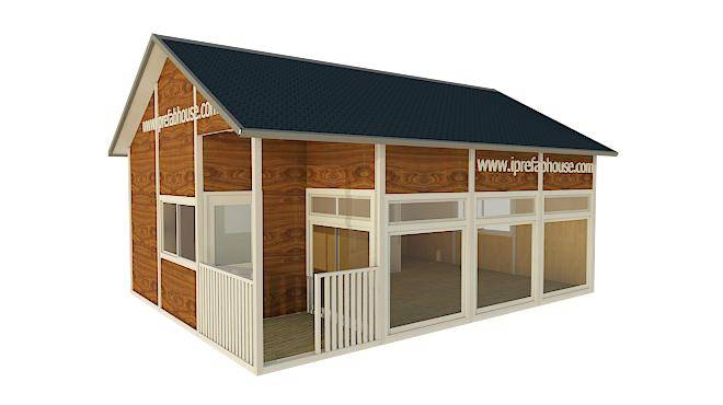 cute single layer multifunctional prefab steel frame cottage,39.75 sq.m.