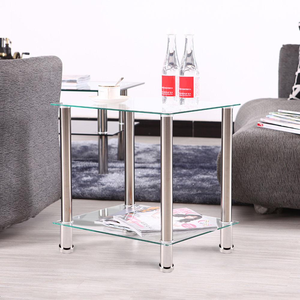 Clear 2Tier Glass Stainless Steel Small Display Stand Side End Lamp Coffee Table