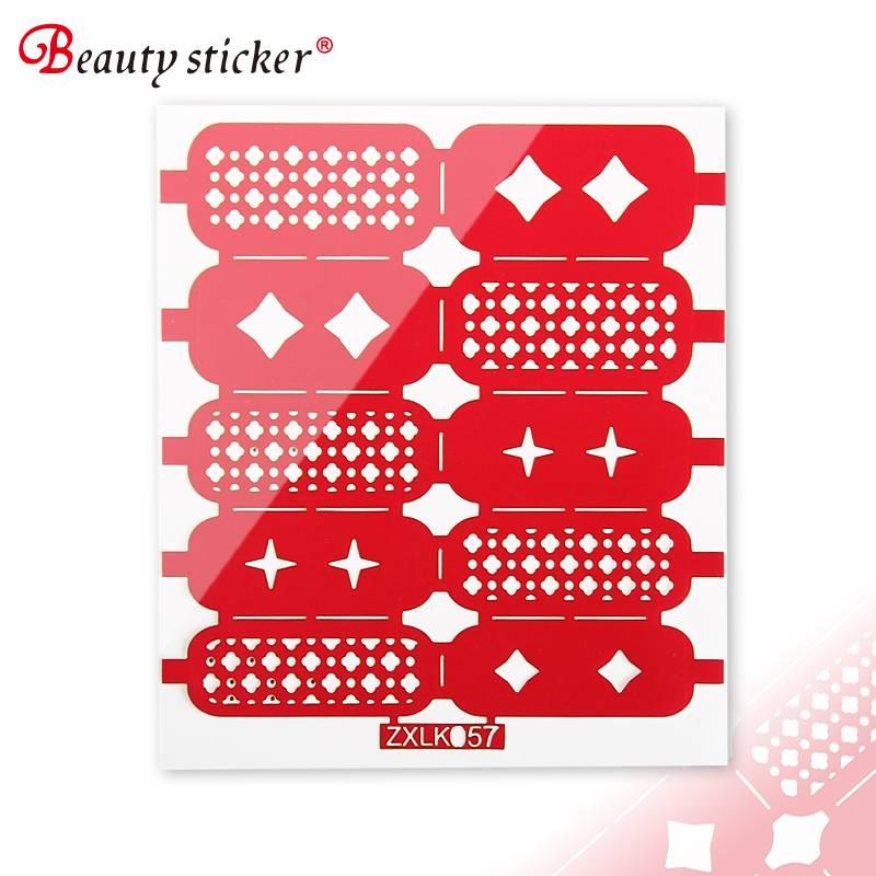 Hollow Nail Art Stencil Polish Tips Sticker Decal DIY Decor Template Guides