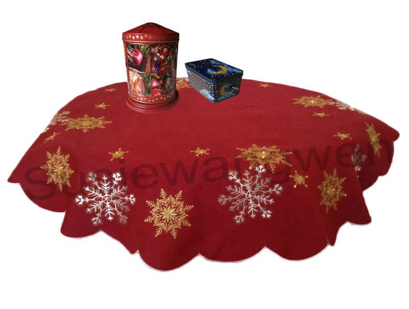 embroidered round tablecloth on the table X-mas overlay for Christmas decoration table cover 85CM wi