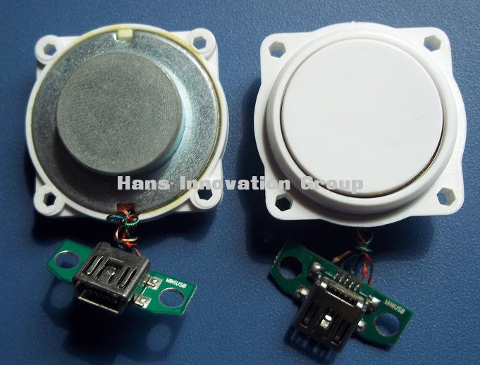 Attachable audio vibration speaker module with power amplifier