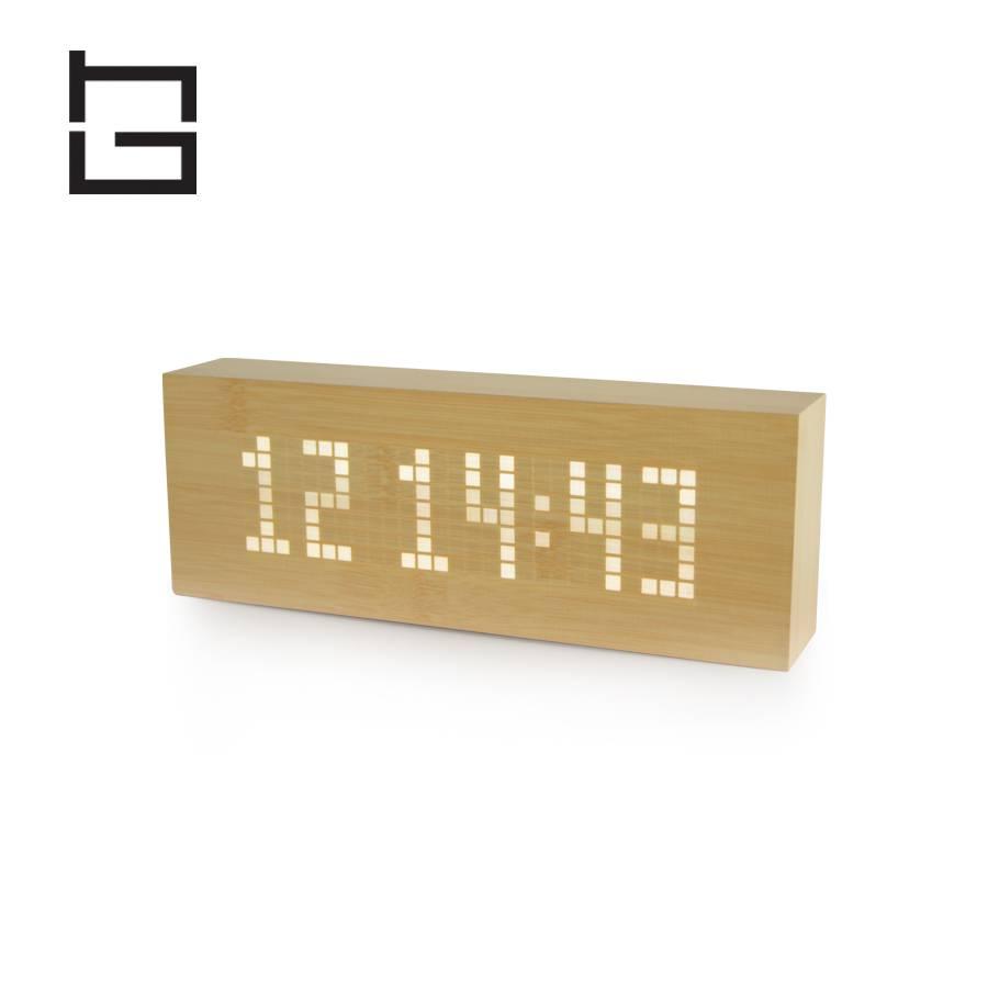 HG houseware H61015 square digital wooden LED alarm clock