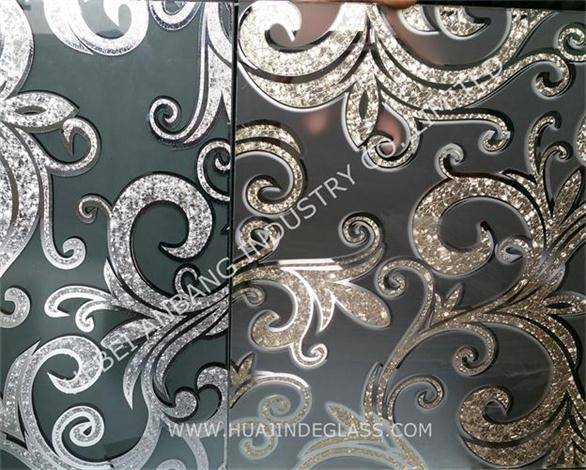 Decoratice glass ice flower acid etched glass for interior door and partition
