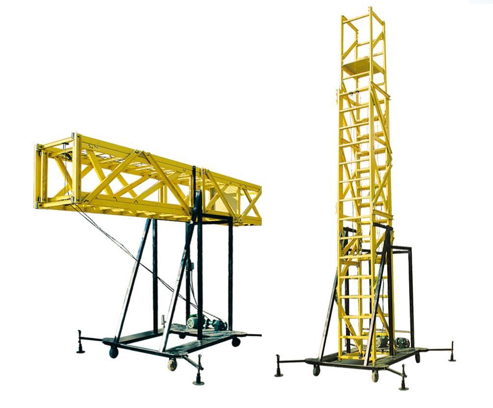 safety fiberglass ladder with platform