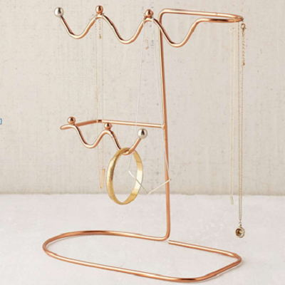 Metal Wire Golden Jewelry Stand Organizer Dispaly For Earing, Ring, Necklace, Bracelet