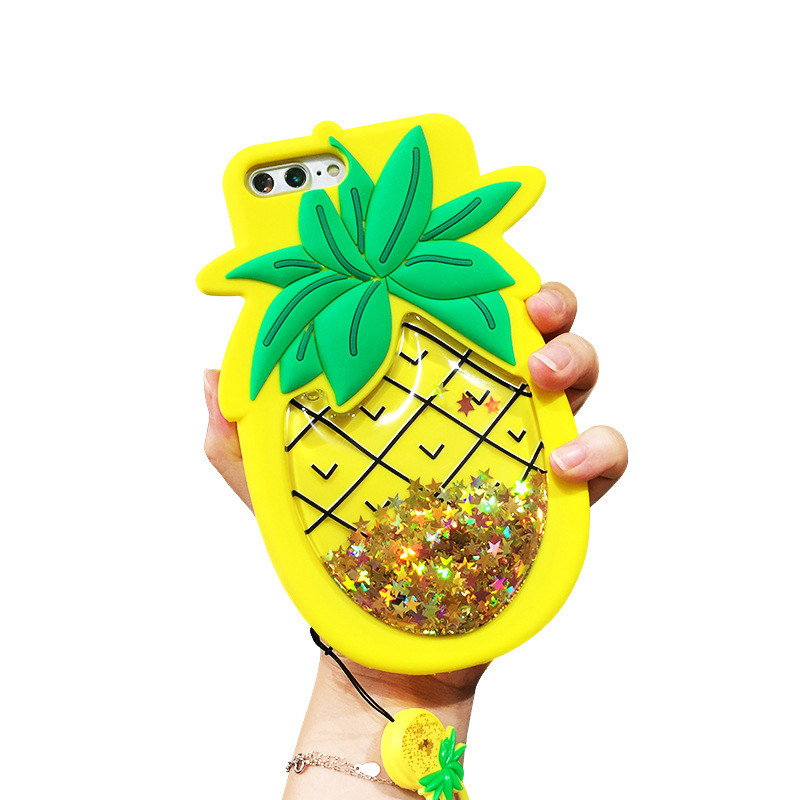 Hot Sale Silicone Bling Quicksand Cover for iPhone 7 plus Pineapple Apple 6S/8 plus Xiaomi Case