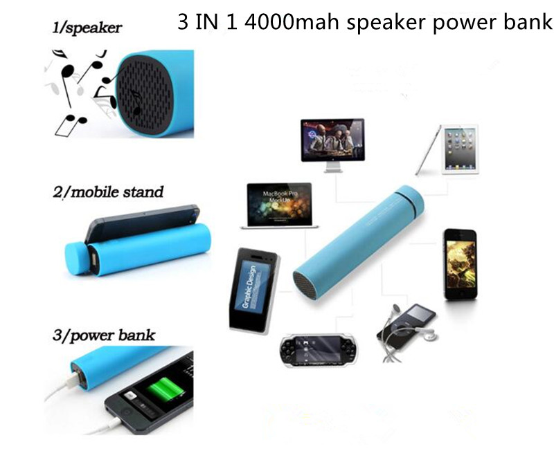 3 in 1 4000mah bluetooth speaker power bank with LOGO CE ROHS FCC