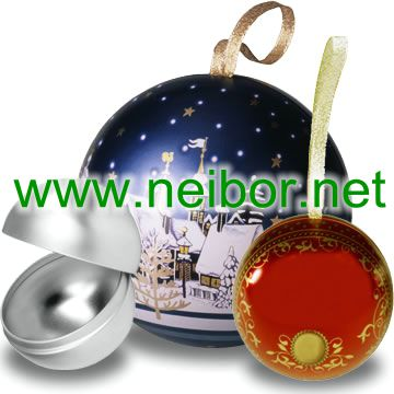 Christmas tin ball chocolate tin box