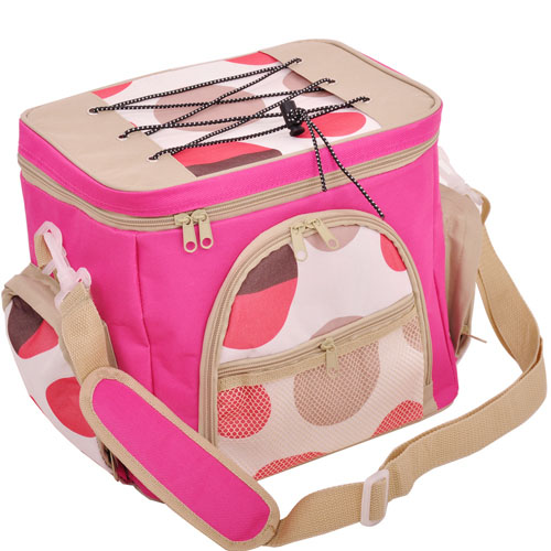 Pink dotted cooler bag / cosmetic bag fxsdl08