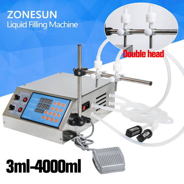 ZONESUN Electric Digital Control Pump Liquid Filling Machine 0.5-4000ml for liquid with 2 heads