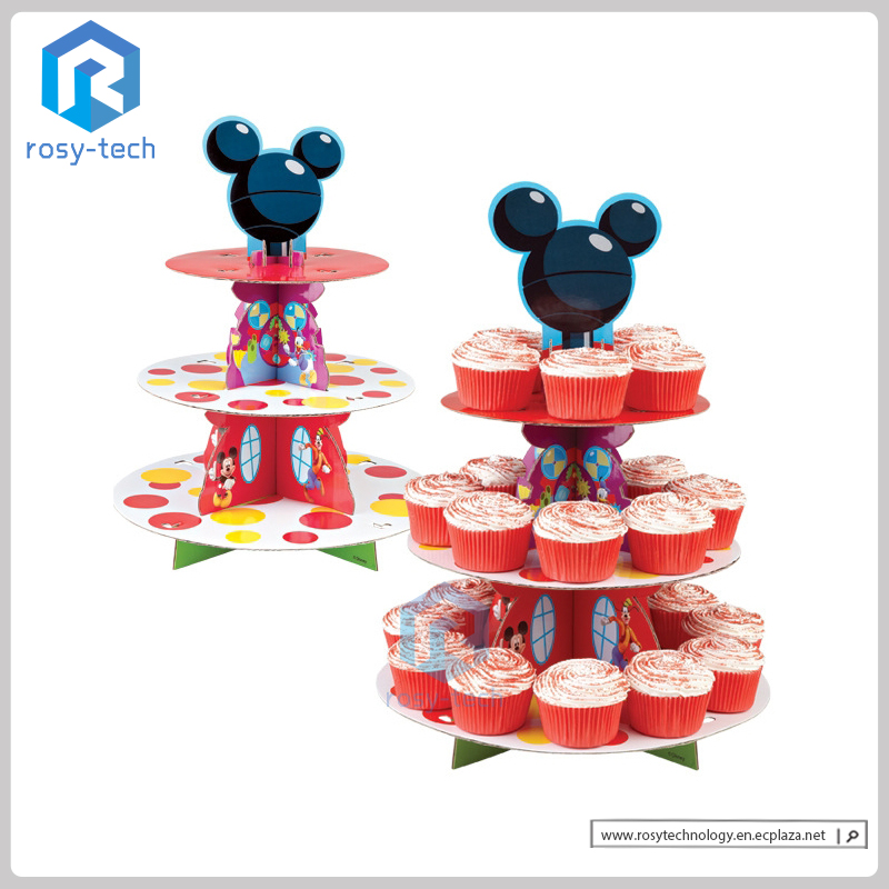 Round Display Stand Foldable 3 Tier Paper Cardboard Cupcake Stand For Party