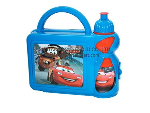 Plastic kids lunch box with water bottle set,lunch box set