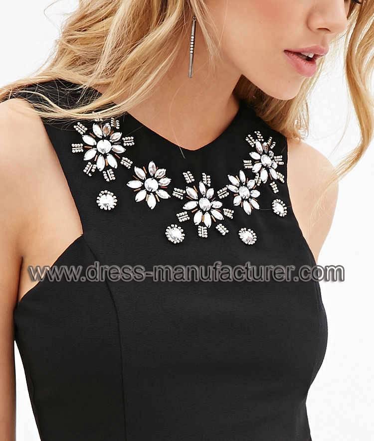 L1899 made in China Rhinestone Embellished Sheath Dress For Women