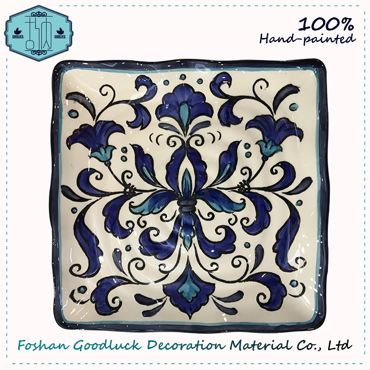 Hand Painted Blue Color Square Shape Ceramic Plate Dish