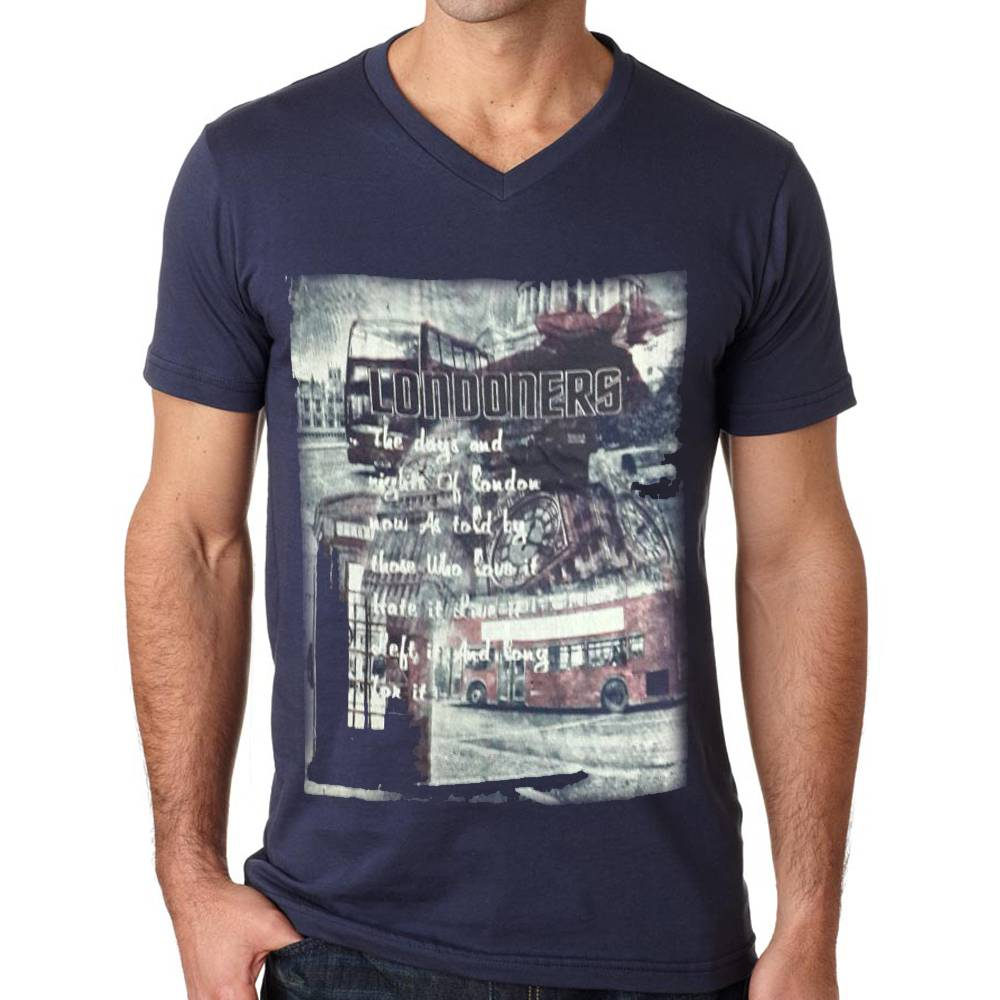 Men's Printed V Neck T-Shirt