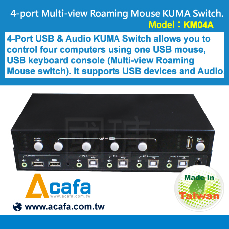 [ KM04A ] 4-port Multi-view Roaming Mouse KUMA Switch made in Taiwan