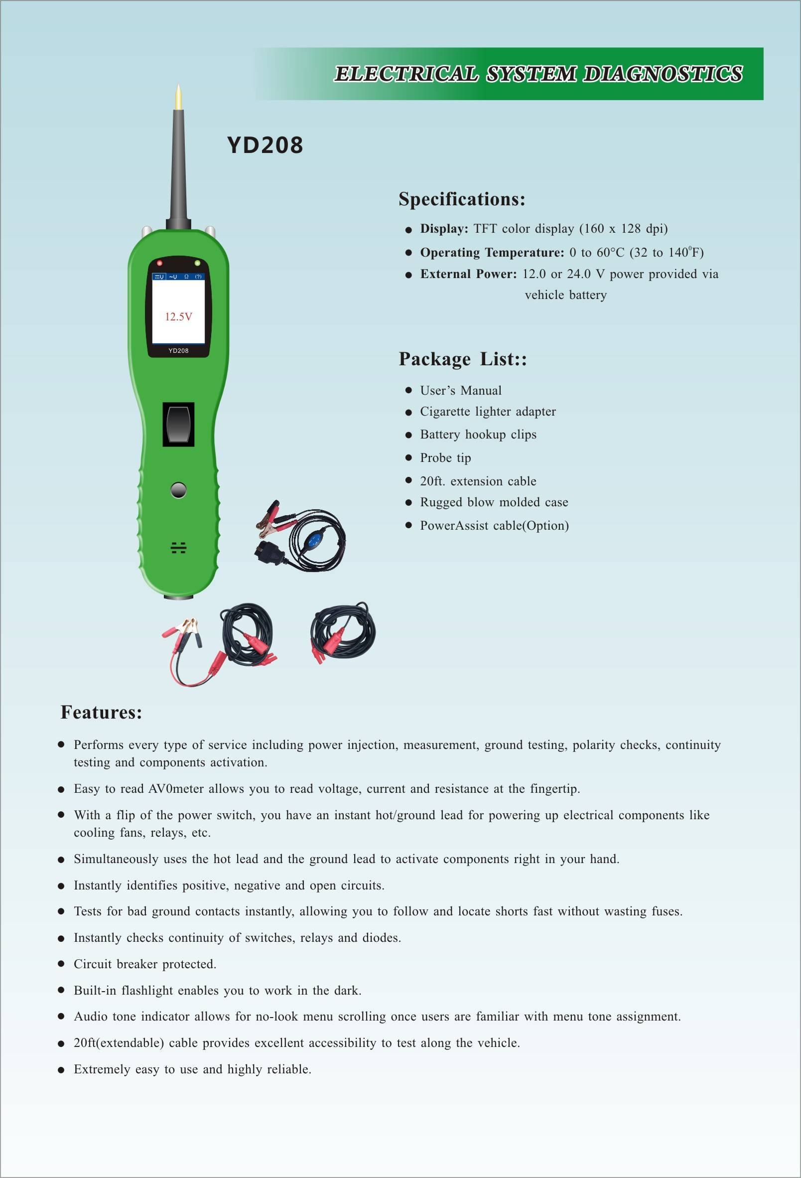 Yan Tek Auto Electrical System Circuit Tester Diagnostic Tool Yd208 Temperature Indicator Same As Power Scan Ps100