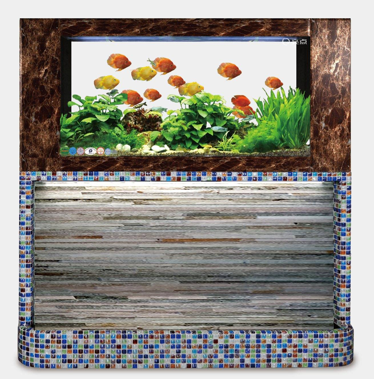 Colorful bread style mosaic + imitation lidan glass