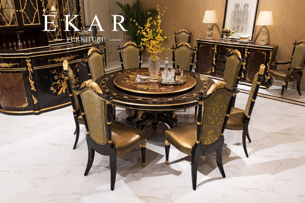 Antique wooden round rotating dining table