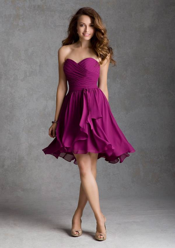 2014 NEW Top Quality Custom Made Fuchsia Chiffon Pleat Short Bridesmaid Dress Bridal Gown Party Dres
