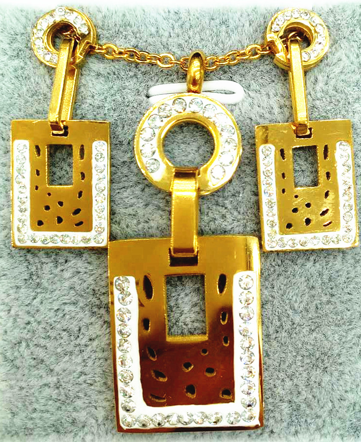 Latest Design Professional Manufacturer jewelry Hollow Round +Rectangle Pendant earring gold plated
