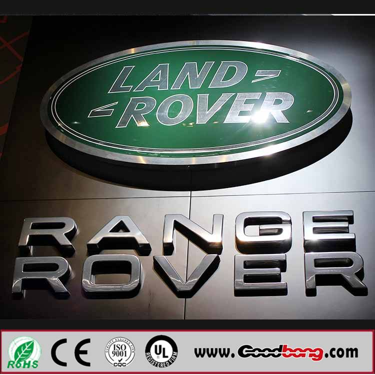 Outdoor stainless metal car logo with light led box for famous brand,wholesale standard