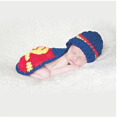 2016 Superman in Blue Yellow Red Colour Baby Photography Props Newborn