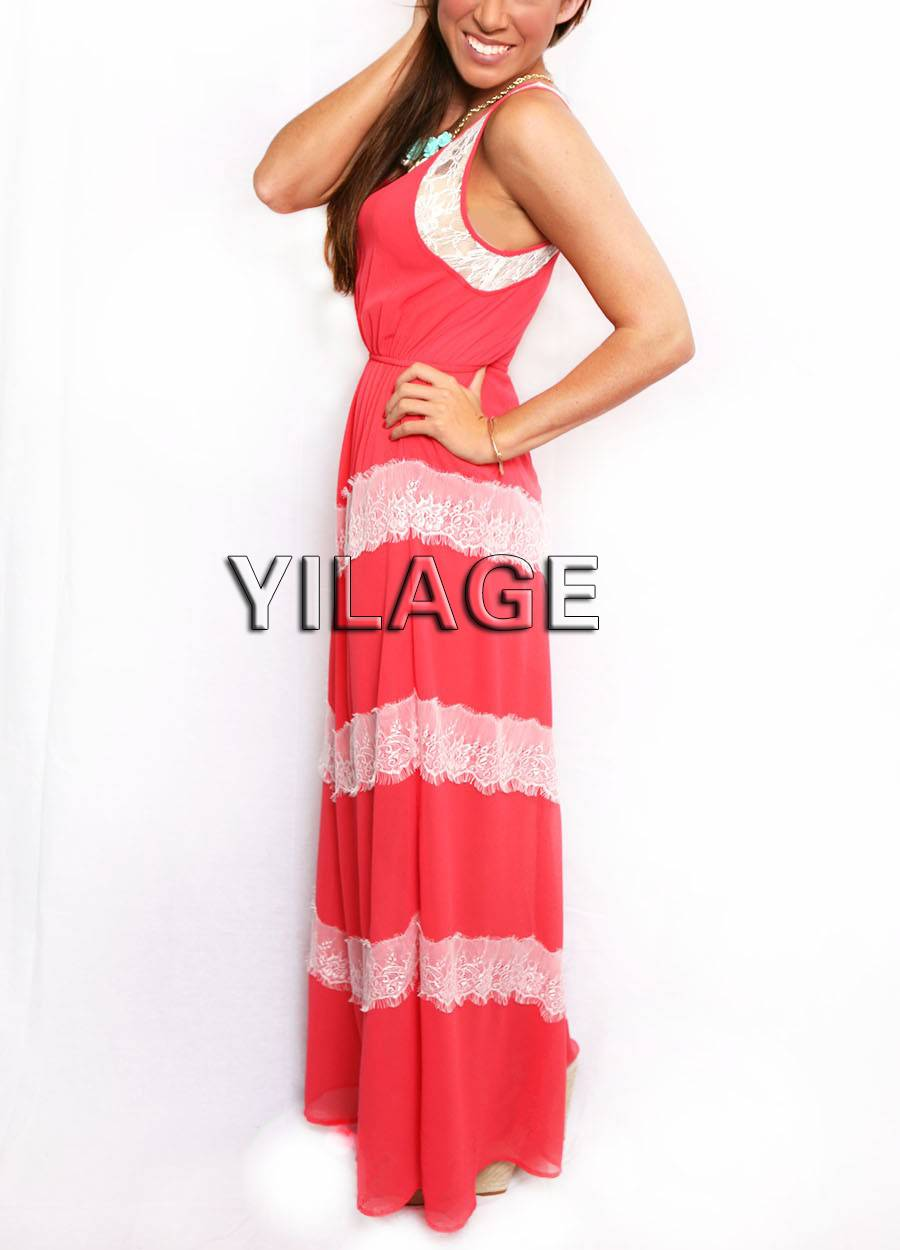 L1613 Summer Lady sleeveless Chevron Lace Maxi Dress made in China