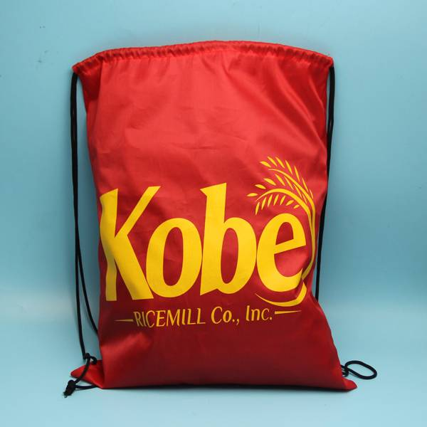 red color polyester backpack bag with csutomized logo printed