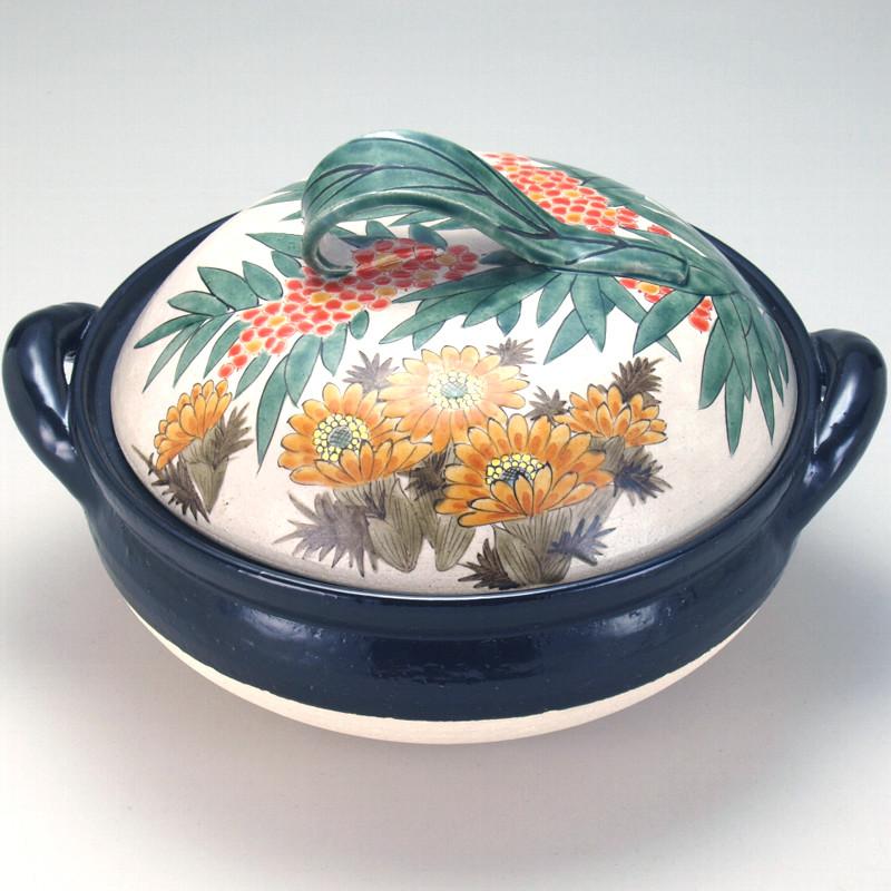 [Kutani ware] No. 10 healthy steaming pot Nanten and Amur adonis