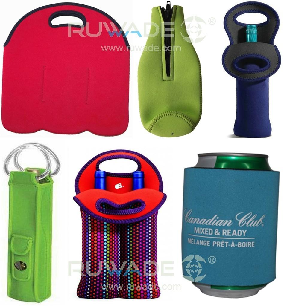 Neoprene wine can bottle cooler holder tote,2 pack,6 pack,with handle or zipper,slap cooler koozie