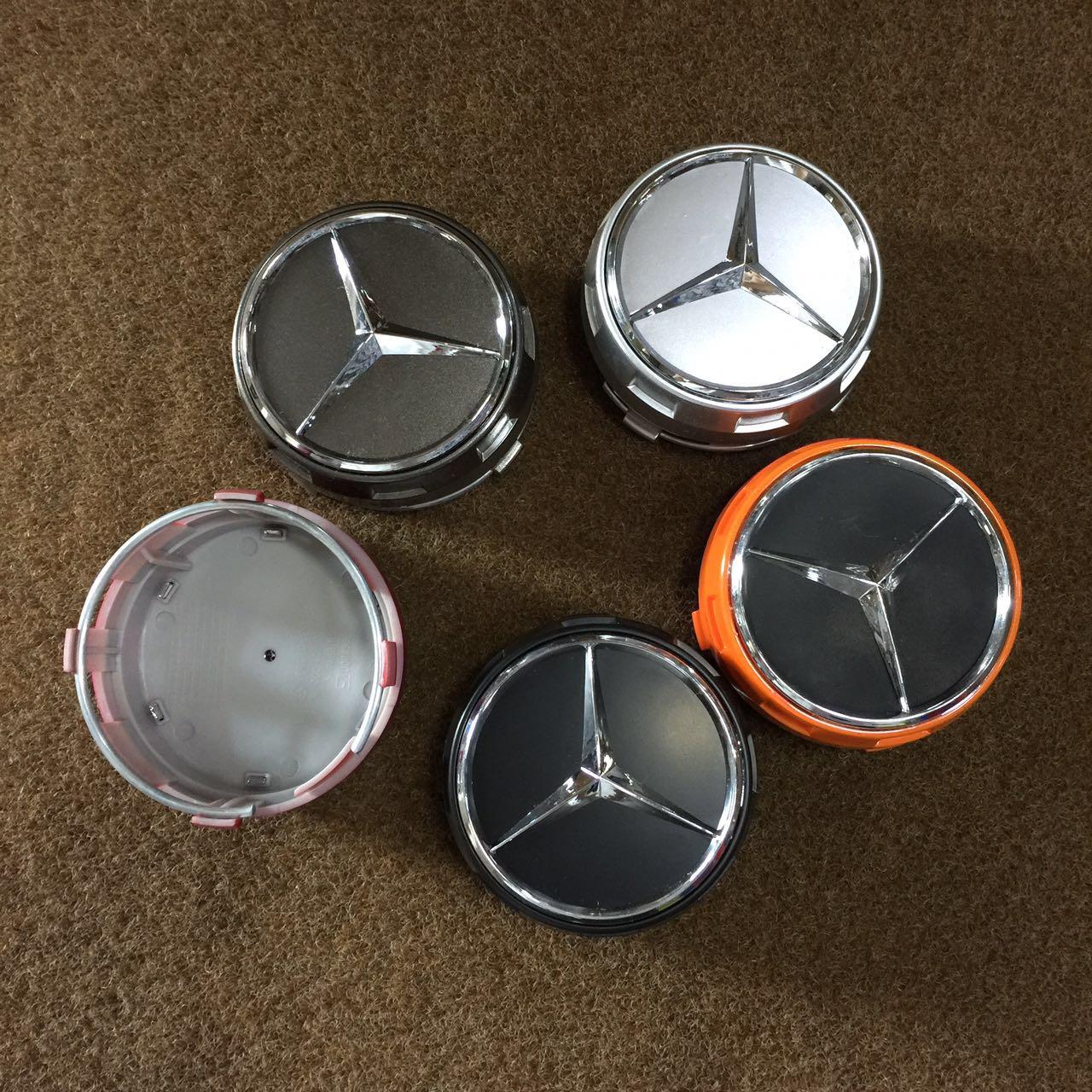 75mm Mercedes Benz wheel caps AMG SET Emblem Logo For C E S SL SLK CLS GL GLE