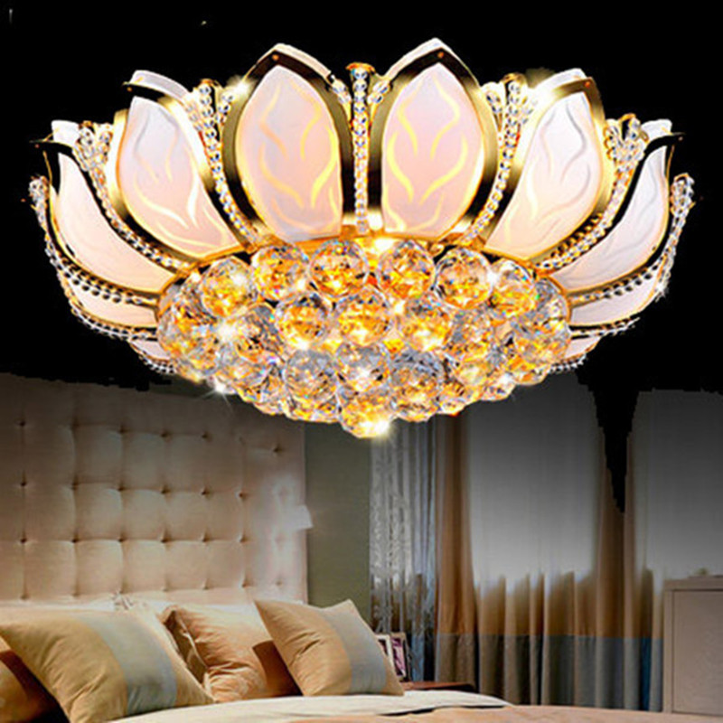 Lotus Flower Modern Ceiling Lights With Glass Lampshade Gold Ceiling Lamp for Living Room Bedroom