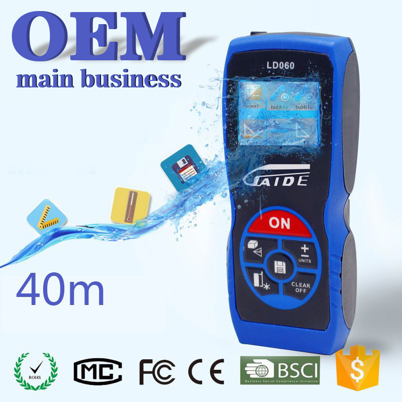 OEM 40m cheap accuracy 1mm laser distance meter area volume measurer