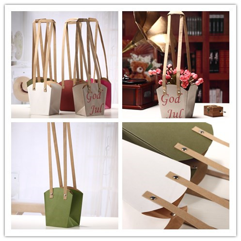 150g Kraft Paper Flower Carrying and Packaging Gift Carrier Bag with Flat Handle