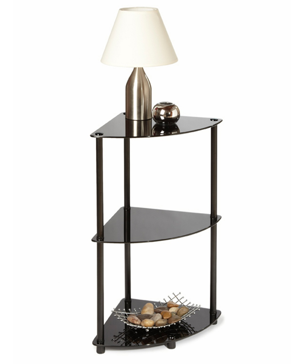 Convenience Concepts Black Classic Glass 3-Tier Corner Shelf