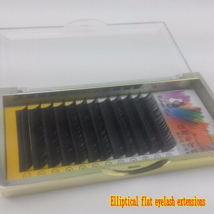 Top Quality Korea Individual Elliptical Flat Eyelash Extensions