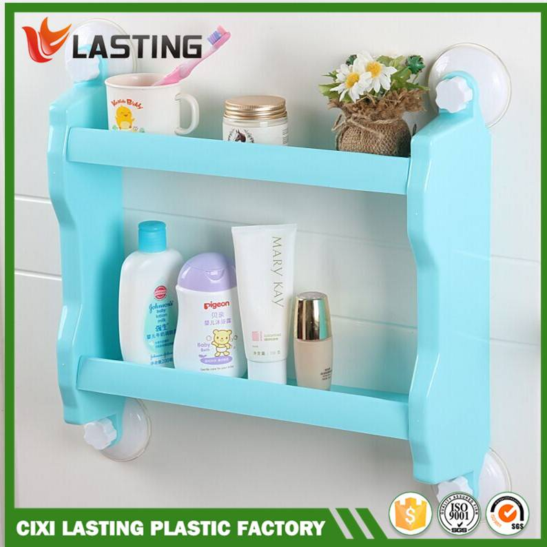 2 Layers Multi-function Plastic 2 Layers Bathroom & Kitchen Storage Shelf With Super Suction