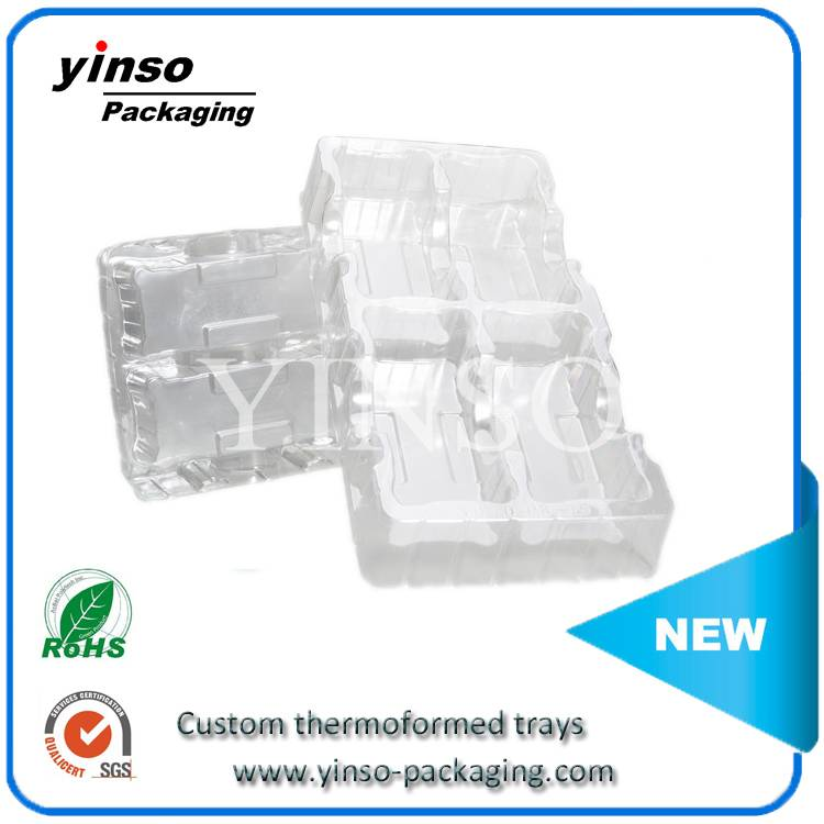 Transparent plastic blister packaging tray